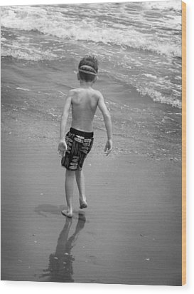 Boy At The Ocean Wood Print by Kelly Hazel