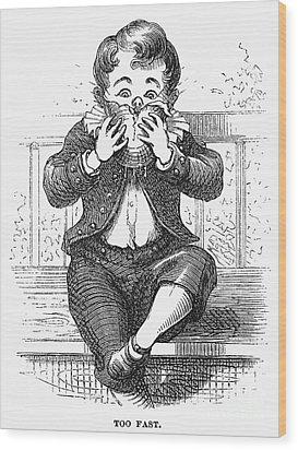 Boy Eating Wood Print by Granger