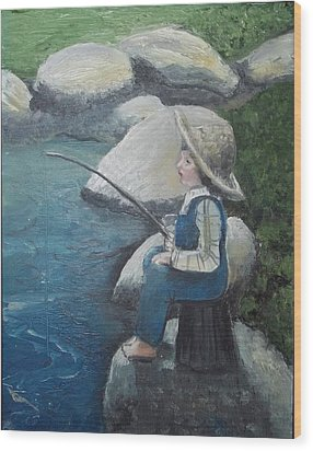 Wood Print featuring the painting Boy Fishing by Angela Stout