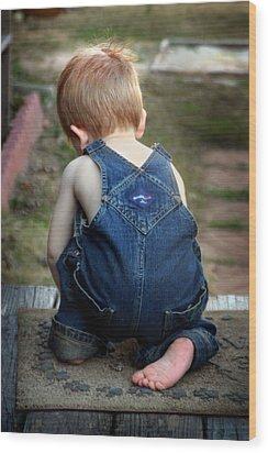 Boy In Overalls Wood Print by Kelly Hazel