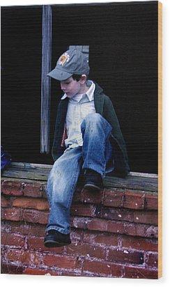 Boy In Window Wood Print by Kelly Hazel