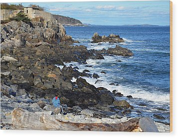 Wood Print featuring the photograph Boy On Shore Rocky Coast Of Maine by Maureen E Ritter
