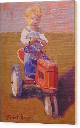 Boy On Tractor Wood Print by The Vintage Painter