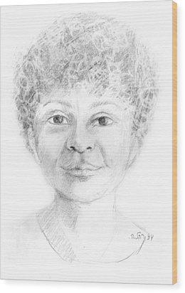 Boy Or Girl Woman Or Man African Or Asian Has Curly Hair Big Lips And A Big Head Wood Print by Rachel Hershkovitz