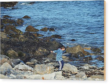 Wood Print featuring the photograph Boy Throwing A Stone Maine Coast by Maureen E Ritter