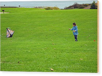 Wood Print featuring the photograph Boy With His Kite Maine by Maureen E Ritter