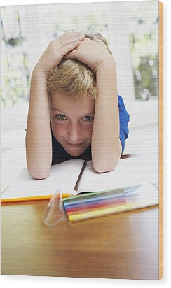 Boy With Pens And Exercise Book Wood Print by Ian Boddy