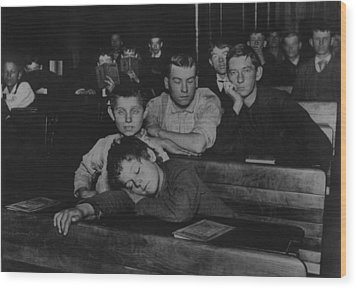 Boys And Teenagers Attend Night School Wood Print by Everett