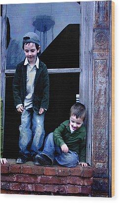 Boys In A Window Wood Print by Kelly Hazel