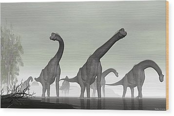 Wood Print featuring the digital art Brachiosaurus by Walter Colvin