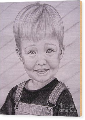 Wood Print featuring the drawing Brady by Julie Brugh Riffey