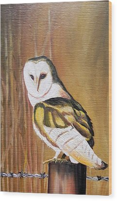 Bran Owl Wood Print by Usha Rai