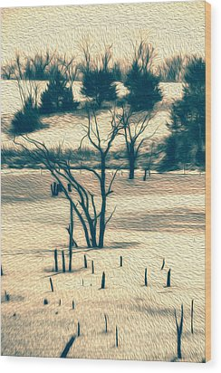 Branched Reprieve Wood Print by Bill Tiepelman