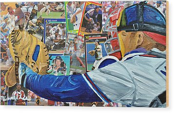 Braves Catcher Wood Print by Michael Lee