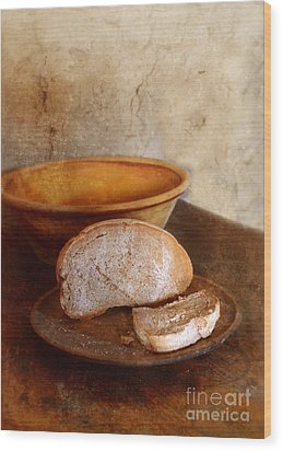 Bread On Rustic Plate And Table Wood Print by Jill Battaglia