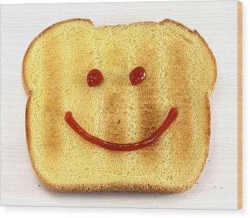 Bread With Happy Face Wood Print by Blink Images