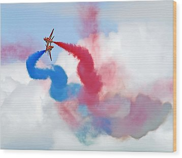 Break  Red Arrows - Dunsfold 2012 Wood Print by Colin J Williams Photography