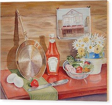 Breakfast At Copper Skillet Wood Print by Irina Sztukowski