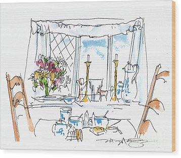 Breakfast Window Wood Print