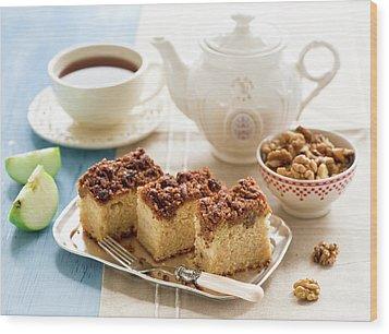 Breakfast With Nut Cake Wood Print by Verdina Anna