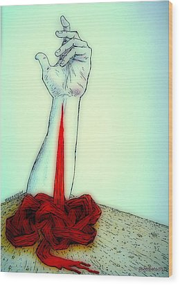 Breaks The Heaven With The Same Hand Breaks The Earth Wood Print by Paulo Zerbato