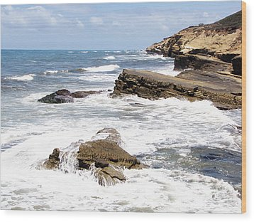 Breakwaters At Point Loma Wood Print