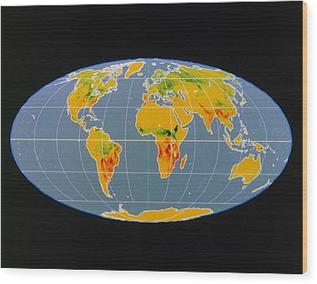 'breathing Earth' Co2 Input/output, Global Map Wood Print by Nasa