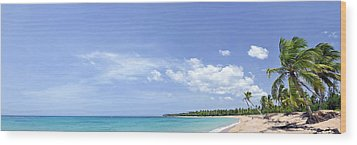 Breathtaking Tropical Beach Panorama Wood Print by Sebastien Coursol