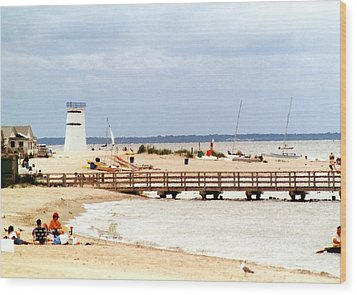 Wood Print featuring the photograph Breezy Point Bayside Frosted Glass by Maureen E Ritter