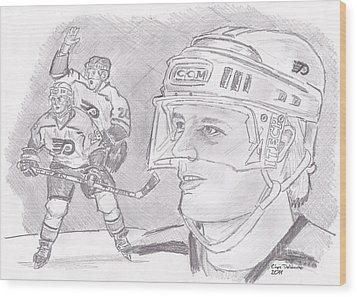 Brian Propp Wood Print by Chris  DelVecchio