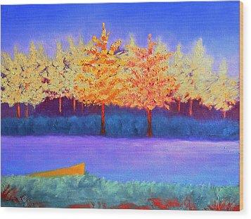 Brians Lake Wood Print by Karin Eisermann
