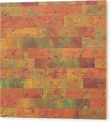 Brick Orange Wood Print