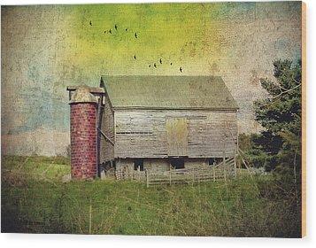 Brick Silo Wood Print by Kathy Jennings