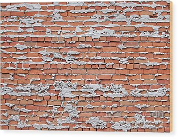 Wood Print featuring the photograph Brick Wall With Mortar by Les Palenik