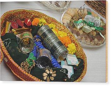 Bridal Accessories Wood Print by Ambreen Jamil