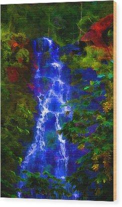 Bridal Veil Falls Wood Print by Michael Cleere