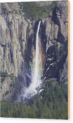 Bridal Veil Falls Rainbow In Yosemite Wood Print by Gregory Scott
