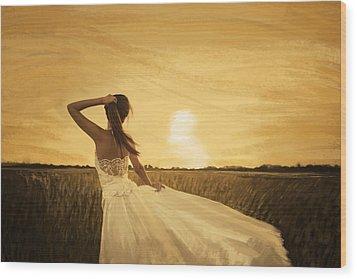 Bride In Yellow Field On Sunset  Wood Print by Setsiri Silapasuwanchai