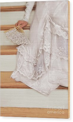 Bride Sitting On Stairs With Lace Fan Wood Print by Jill Battaglia