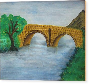 Bridge-acrylic Painting Wood Print by Rejeena Niaz