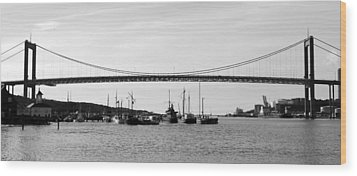 Bridge And Boats Wood Print by Smallfort Photography Collection