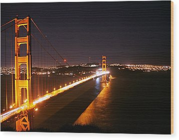 Bridge At Night Wood Print by Michael Courtney