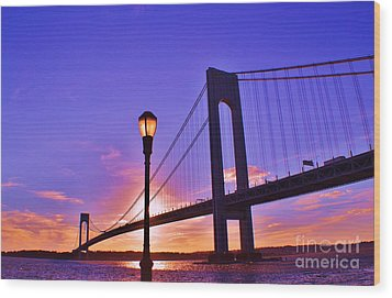 Bridge At Sunset 2 Wood Print by Artie Wallace