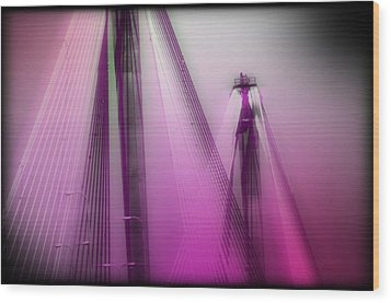 Bridge Cables One Wood Print by Marty Koch