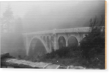 Bridge In Fog Wood Print