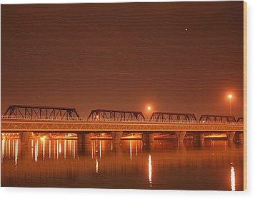 Bridge In The Mist Wood Print