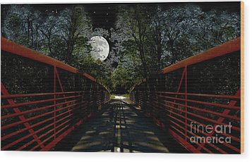 Bridge In The Moon Light Wood Print by Cedric Hampton