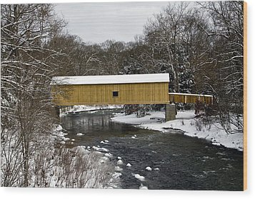 Bridge In Winter II Wood Print