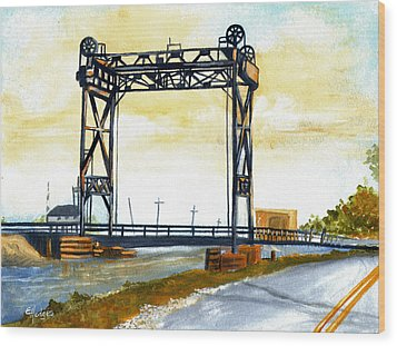 Bridge Over The Bayou Wood Print by Elaine Hodges