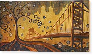 Bridge Wood Print by Sara Coolidge